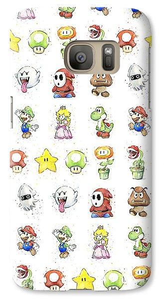 Peach Galaxy S7 Case - Mario Characters In Watercolor by Olga Shvartsur