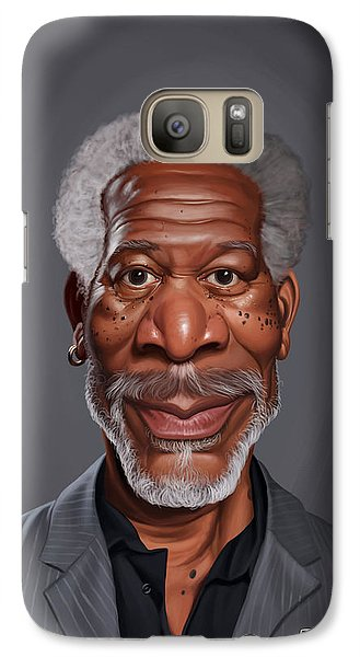Galaxy Case featuring the drawing Celebrity Sunday - Morgan Freeman by Rob Snow