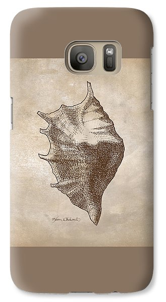 Galaxy Case featuring the drawing Distressed Antique Nautical Seashell 1  by Karen Whitworth