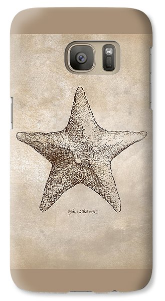 Galaxy Case featuring the drawing Distressed Antique Nautical Starfish by Karen Whitworth