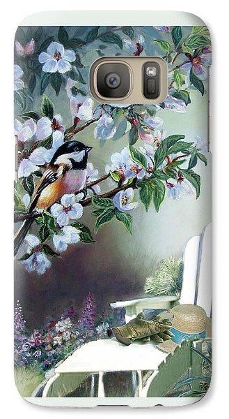 Chickadees In Blossom Tree Galaxy S7 Case by Regina Femrite