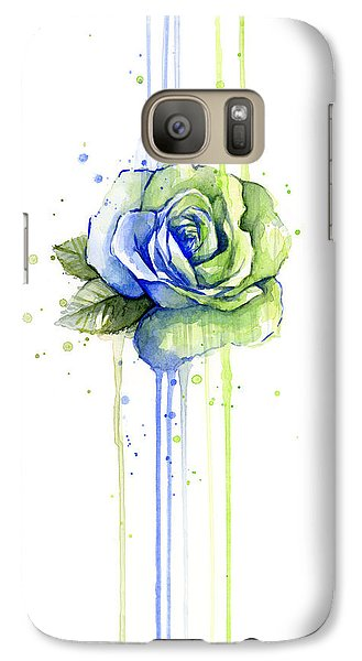 Seattle Galaxy S7 Case - Seattle 12th Man Seahawks Watercolor Rose by Olga Shvartsur