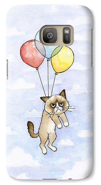 Grumpy Cat And Balloons Galaxy S7 Case