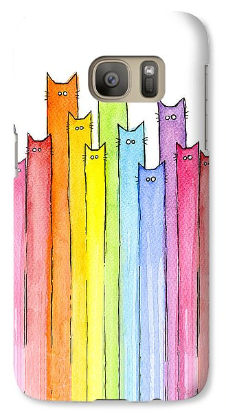 Cat Rainbow Watercolor Pattern Galaxy S7 Case