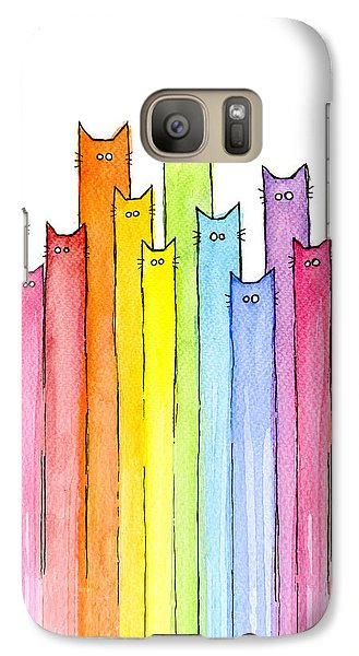 Galaxy S7 Case - Cat Rainbow Watercolor Pattern by Olga Shvartsur