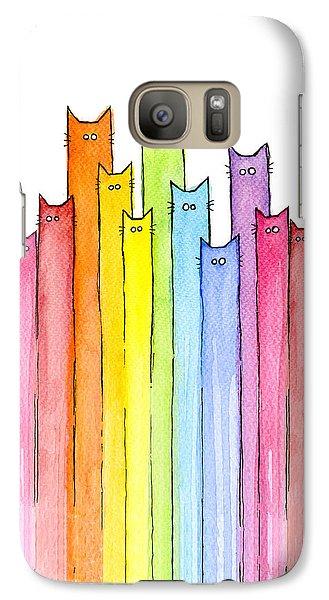 Cat Rainbow Pattern Galaxy S7 Case by Olga Shvartsur