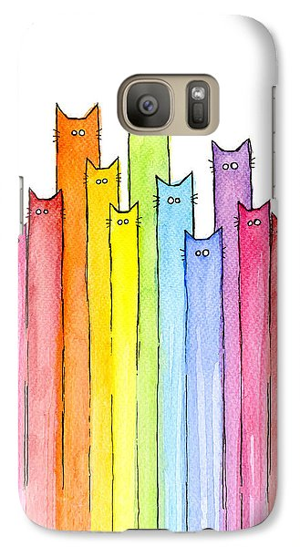 Cat Rainbow Pattern Galaxy Case by Olga Shvartsur