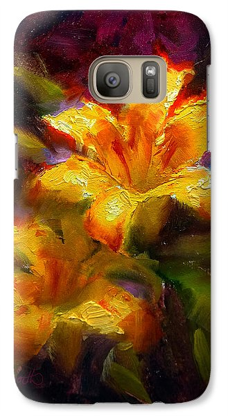 Galaxy Case featuring the painting Daylily Sunshine - Colorful Tiger Lily/orange Day-lily Floral Still Life  by Karen Whitworth