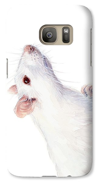 Mice Galaxy S7 Case - White Albino Rat Watercolor by Olga Shvartsur