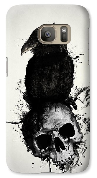 Galaxy Case featuring the mixed media Raven And Skull by Nicklas Gustafsson