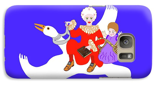 Galaxy Case featuring the painting Mother Goose On Her Flying Goose by Marian Cates