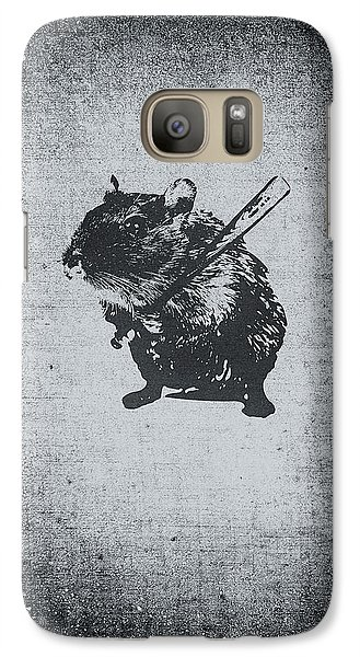 Beaver Galaxy S7 Case - Angry Street Art Mouse  Hamster Baseball Edit  by Philipp Rietz