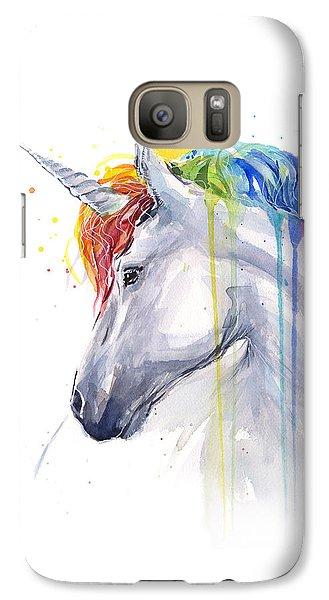 Horse Galaxy S7 Case - Unicorn Rainbow Watercolor by Olga Shvartsur