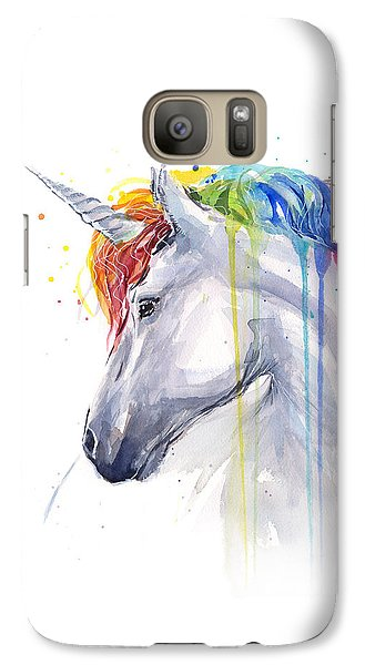 Unicorn Rainbow Watercolor Galaxy S7 Case by Olga Shvartsur