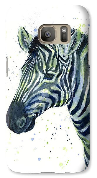 Zebra Galaxy S7 Case - Zebra Watercolor Blue Green  by Olga Shvartsur