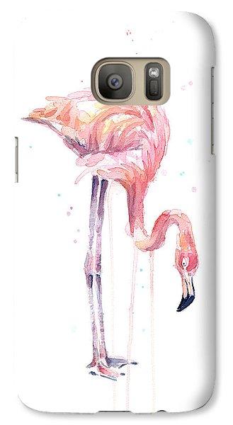 Flamingo Painting Watercolor Galaxy Case by Olga Shvartsur