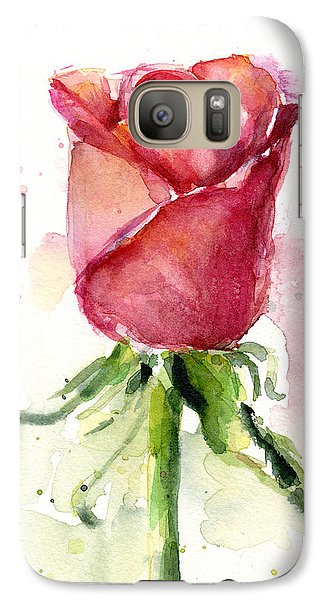 Flowers Galaxy S7 Case - Rose Watercolor by Olga Shvartsur