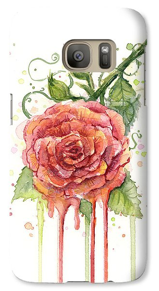 Red Rose Dripping Watercolor  Galaxy S7 Case