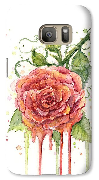 Rose Galaxy S7 Case - Red Rose Dripping Watercolor  by Olga Shvartsur