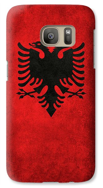 Galaxy Case featuring the digital art National Flag Of Albania With Distressed Vintage Treatment  by Bruce Stanfield