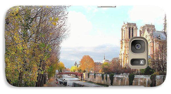 Galaxy Case featuring the photograph The Seine And Quay Beside Notre Dame, Autumn by Felipe Adan Lerma