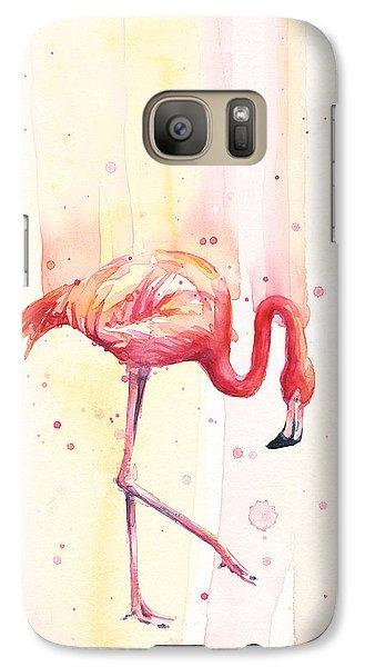Pink Flamingo Watercolor Rain Galaxy Case by Olga Shvartsur
