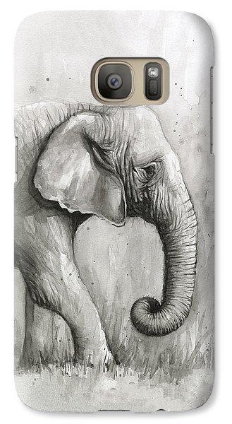 Elephant Galaxy S7 Case - Elephant Watercolor by Olga Shvartsur