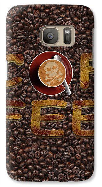 Galaxy Case featuring the painting Coffee Funny Typography by Georgeta Blanaru