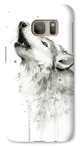 Wolves Galaxy S7 Case - Howling Wolf Watercolor by Olga Shvartsur