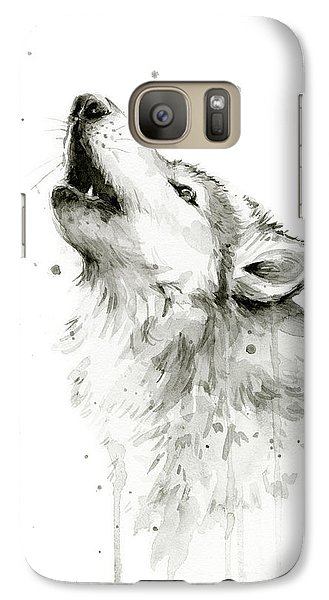 Howling Wolf Watercolor Galaxy Case by Olga Shvartsur