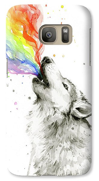 Wolf Rainbow Watercolor Galaxy S7 Case