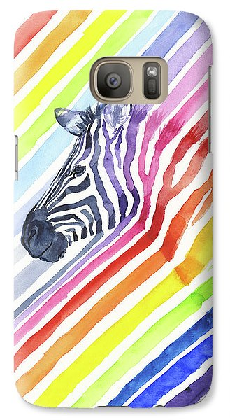 Zebra Galaxy S7 Case - Rainbow Zebra Pattern by Olga Shvartsur