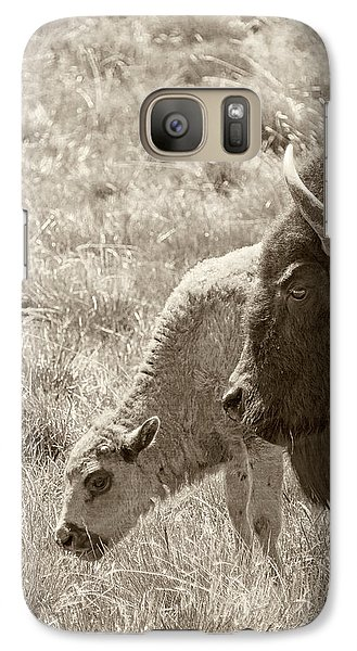 Galaxy Case featuring the photograph Father And Baby Buffalo by Rebecca Margraf