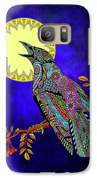 Galaxy Case featuring the drawing Electric Crow by Tammy Wetzel