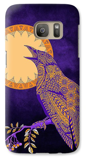 Galaxy Case featuring the drawing Halloween Crow And Moon by Tammy Wetzel