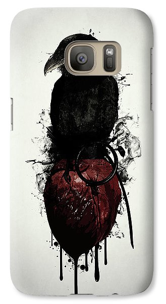 Raven Galaxy S7 Case - Raven And Heart Grenade by Nicklas Gustafsson