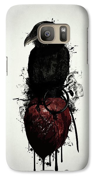 Galaxy Case featuring the digital art Raven And Heart Grenade by Nicklas Gustafsson