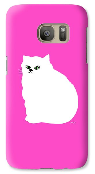Galaxy Case featuring the painting Cartoon Plump White Cat On Pink by Marian Cates