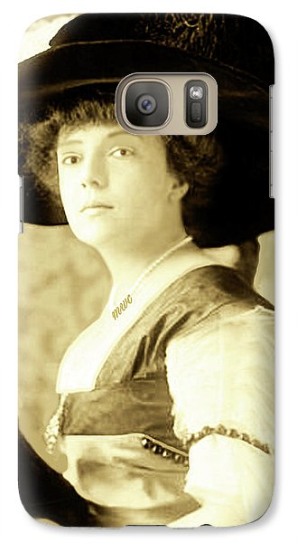 Galaxy Case featuring the photograph Vintage Lady With Lapdog by Marian Cates