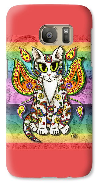Galaxy Case featuring the mixed media Rainbow Paisley Fairy Cat by Carrie Hawks
