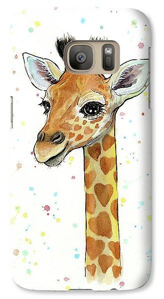 Baby Giraffe Watercolor With Heart Shaped Spots Galaxy S7 Case