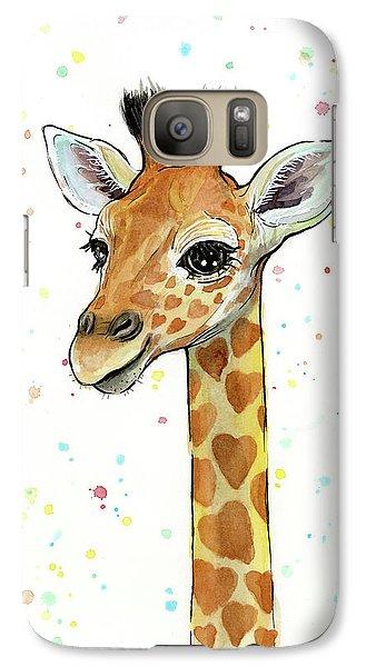 Baby Giraffe Watercolor With Heart Shaped Spots Galaxy Case by Olga Shvartsur