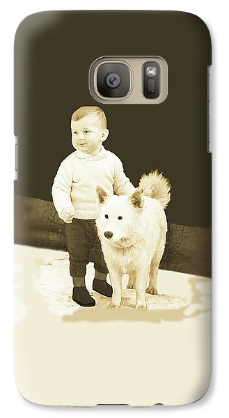 Galaxy Case featuring the painting Sweet Vintage Toddler With His White Mutt by Marian Cates
