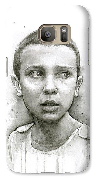 Science Fiction Galaxy S7 Case - Stranger Things Eleven Upside Down Art Portrait by Olga Shvartsur