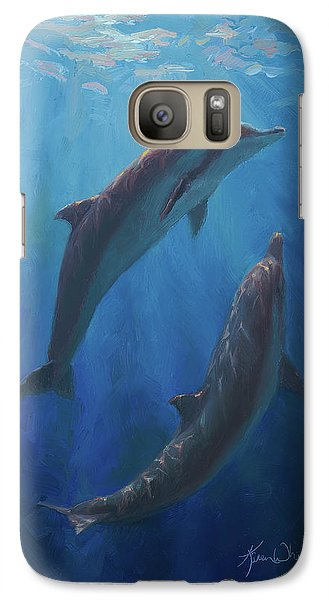 Galaxy Case featuring the painting Dolphin Dance - Underwater Whales by Karen Whitworth