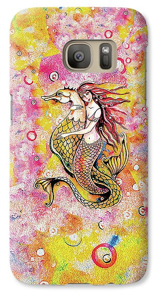 Galaxy S7 Case featuring the painting Black Sea Mermaid by Eva Campbell