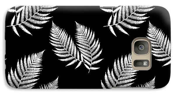 Galaxy S7 Case featuring the mixed media Fern Pattern Black And White by Christina Rollo