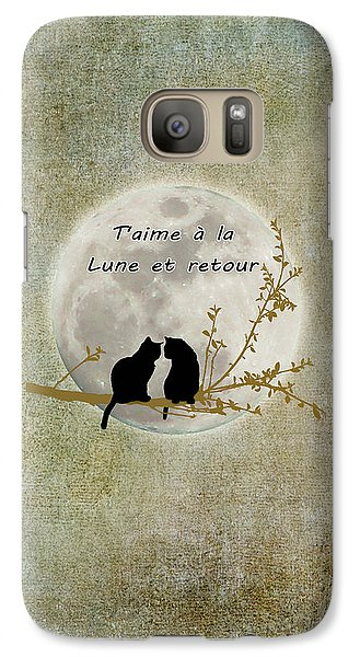 Galaxy Case featuring the digital art T'aime A La Lune Et Retour by Linda Lees