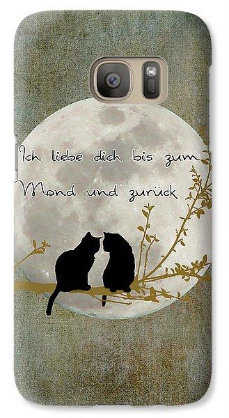 Galaxy Case featuring the digital art Ich Liebe Dich Bis Zum Mond Und Zuruck  by Linda Lees