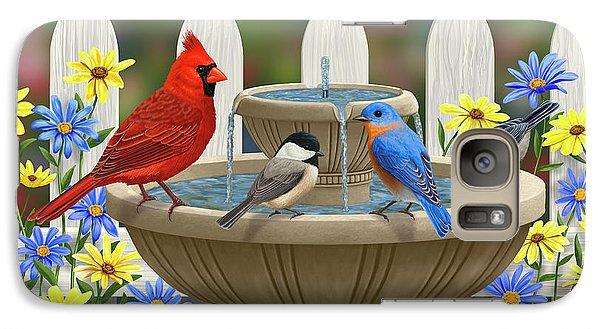 The Colors Of Spring - Bird Fountain In Flower Garden Galaxy S7 Case